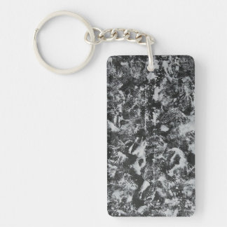 White Ink on Black Background #1 Keychain