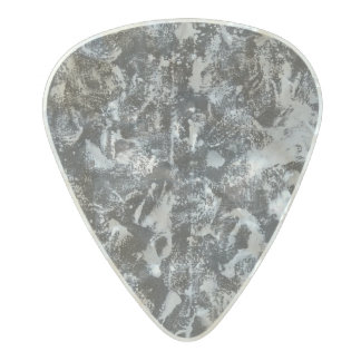 White Ink on Black Background #1 Pearl Celluloid Guitar Pick