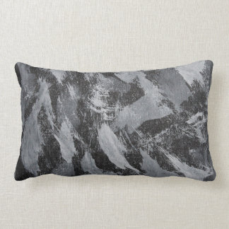 White Ink on Black Background #3 Lumbar Pillow