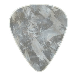 White Ink on Black Background #3 Pearl Celluloid Guitar Pick