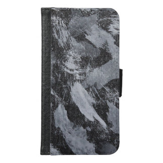 White Ink on Black Background #3 Samsung Galaxy S6 Wallet Case