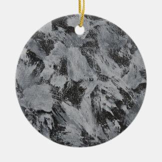 White Ink on Black Background #5 Ceramic Ornament