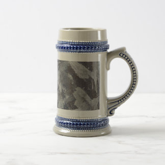 White Ink on Brown and Blue Background Beer Stein