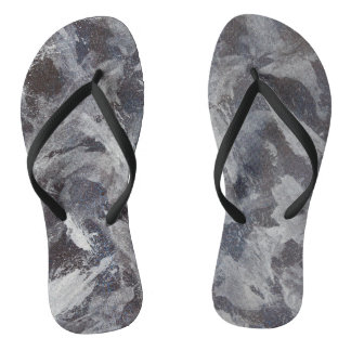 White Ink on Brown and Blue Background Flip Flops