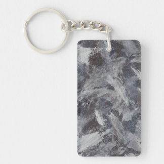 White Ink on Brown and Blue Background Keychain
