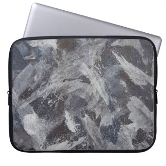 White Ink on Brown and Blue Background Laptop Sleeve