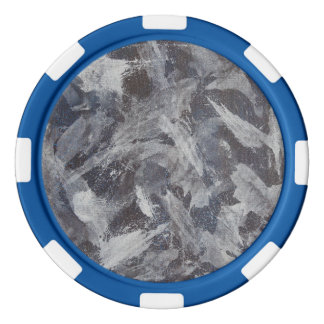 White Ink on Brown and Blue Background Poker Chips