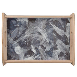 White Ink on Brown and Blue Background Serving Tray