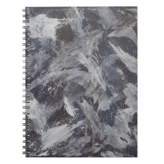 White Ink on Brown and Blue Background Spiral Notebook