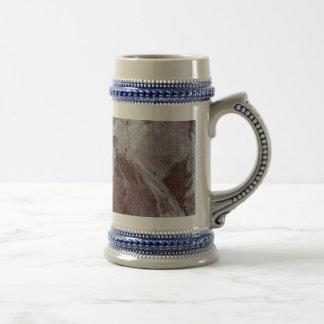 White Ink on Red Background Beer Stein