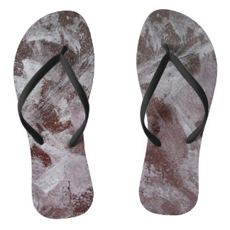 White Ink on Red Background Flip Flops