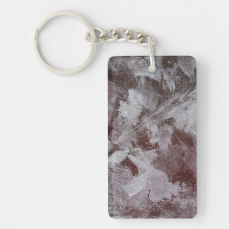 White Ink on Red Background Keychain