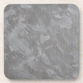 White Ink on Silver Background Drink Coaster