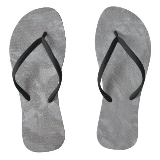 White Ink on Silver Background Flip Flops