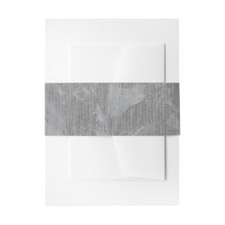 White Ink on Silver Background Invitation Belly Band