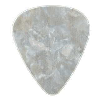 White Ink on Silver Background Pearl Celluloid Guitar Pick