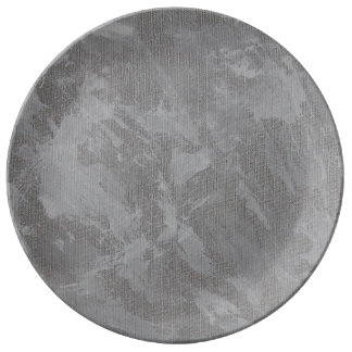 White Ink on Silver Background Plate