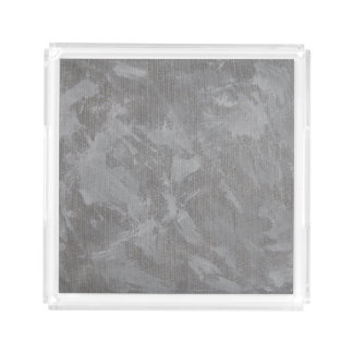 White Ink on Silver Background Serving Tray