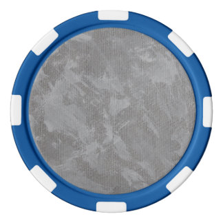 White Ink on Silver Background Set Of Poker Chips
