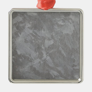 White Ink on Silver Background Silver-Colored Square Ornament
