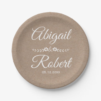 White ink typography kraft paper rustic wedding paper plate