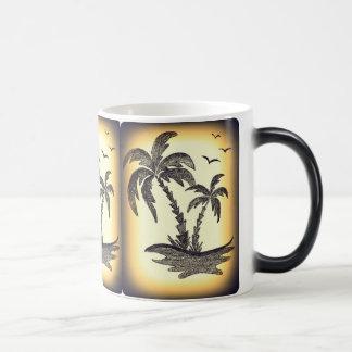 White Inside Mug with Palm Trees