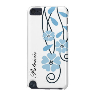 White iPod Touch 4g Case::Blue Flowers iPod Touch 5G Case