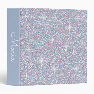 White iridescent glitter 3 ring binder