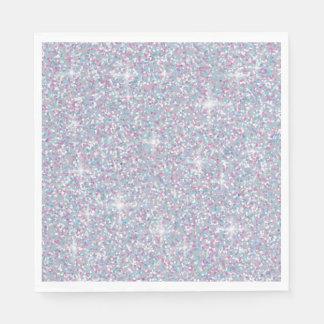 White iridescent glitter disposable napkins