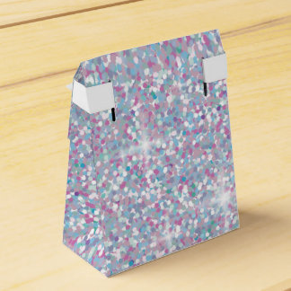 White iridescent glitter favor box