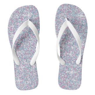 White iridescent glitter flip flops