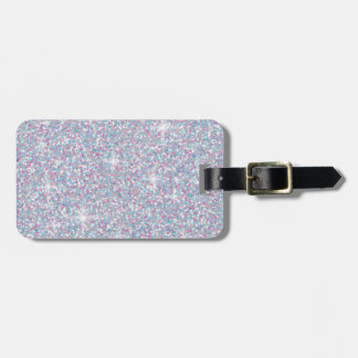 White iridescent glitter luggage tag
