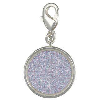 White iridescent glitter photo charm