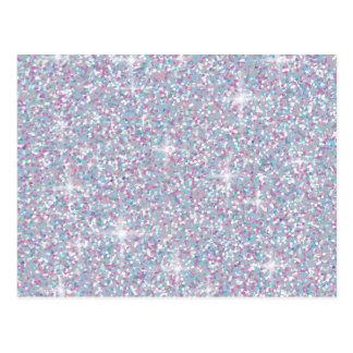 White iridescent glitter postcard