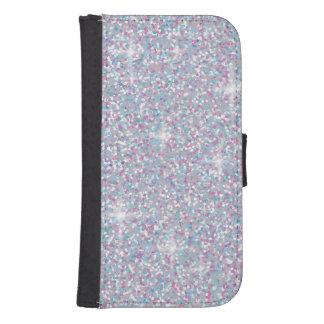 White iridescent glitter samsung s4 wallet case