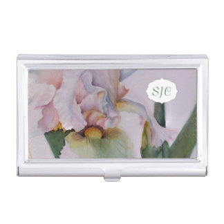 WHITE IRIS WATERCOLOR FLOWER BUSINESS CARD HOLDER