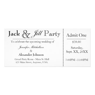 White Jack and Jill Shower Ticket Invitation