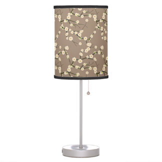 White Japanese Cherry Blossoms  Branches on Taupe Table Lamp