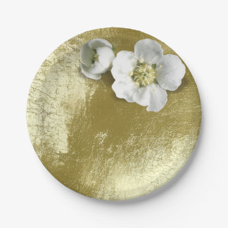 White Jasmine Flower Metallic Mint Green Tee Paper Plate