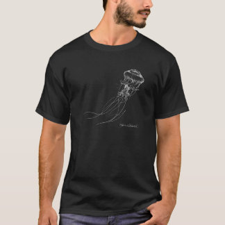 White Jellyfish on black shirt Nautical Drawing