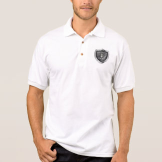 WHITE JERSEY WITH SHIELD WITH BADGE EMBLEM POLO SHIRT