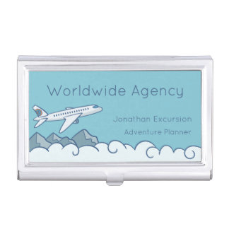 White Jet Aircraft Flying Above the Clouds Business Card Holder