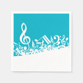 White Jumbled Musical Notes on Turquoise Paper Napkins