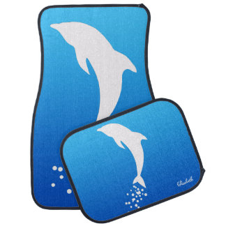 White Jumping Dolphin With Bubbles Car Mats
