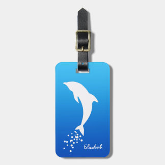 White Jumping Dolphin With Bubbles Luggage Tag