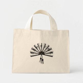 White Kanji Pixel Art Fan Mini Tote Bag