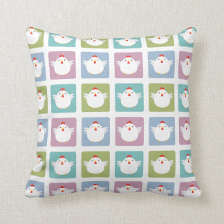 White Kawaii Chicken Sqaure Pattern Throw Pillow