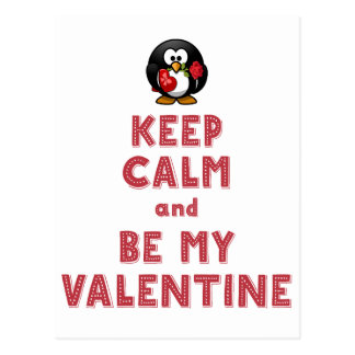 White Keep Calm and Be My Valentine Postcards