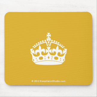 White Keep Calm Crown on Gold Background Mouse Pad