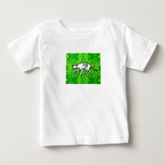White kid's t-shirt with cat design on green